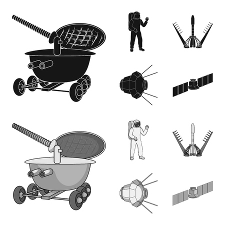 Lunokhod, space suit, rocket launch, artificial Earth satellite. Space technology set collection icons in black,monochrome style vector symbol stock illustration web.