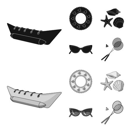 Atracción de agua, conchas marinas, gafas. Las vacaciones de verano establecen los iconos de la colección en la web de dibujos animados estilo vector símbolo stock de ilustración.