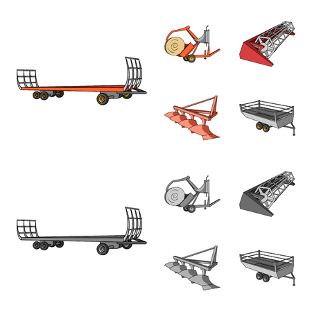 Plow, combine thresher, trailer and other agricultural devices. Agricultural machinery set collection icons in cartoon,monochrome style vector symbol stock illustration web.