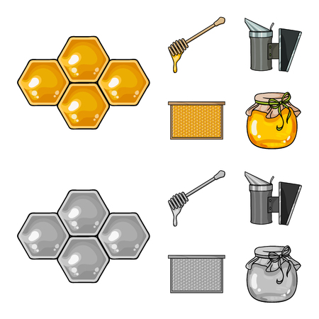 A frame with honeycombs, a ladle of honey, a fumigator from bees, a jar of honey.Apiary set collection icons in cartoon,monochrome style vector symbol stock illustration web. Illustration