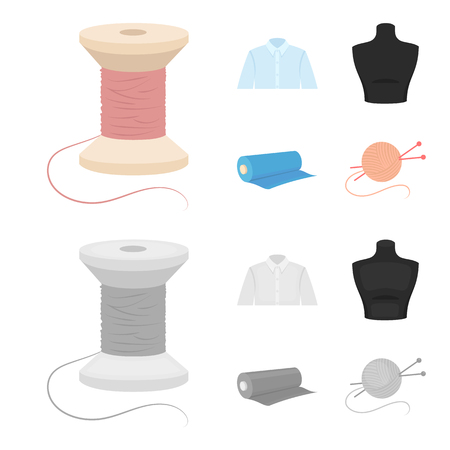 A man shirt, a mannequin, a roll of fabric, a ball of threads and knitting needles.Atelier set collection icons in cartoon,monochrome style vector symbol stock illustration web.