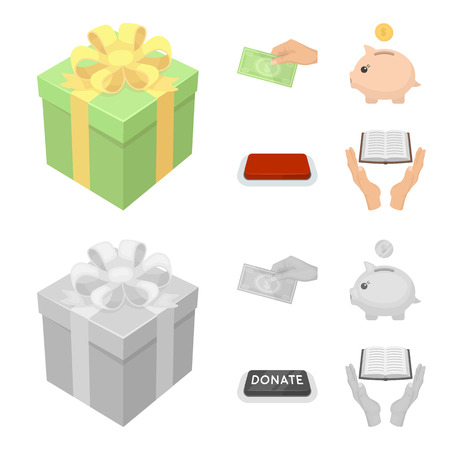 Hand with money for poshestvovaniya, a piggy bank for charity, a button with an inscription, a book for the blind in their hands. Charity and donation set collection icons in cartoon,monochrome style vector symbol stock illustration web. Illustration
