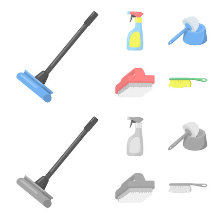 Cleaning and maid cartoon,monochrome icons in set collection for design. Equipment for cleaning vector symbol stock web illustration.