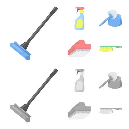 Dibujos animados de limpieza y mucama, monocromo iconos de colección set de diseño. Equipo para limpieza de ilustración de stock de símbolo de vector.