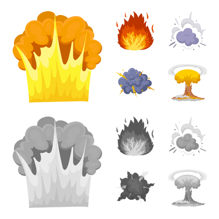 Flame, sparks, hydrogen fragments, atomic or gas explosion. Explosions set collection icons in cartoon,monochrome style vector symbol stock illustration web. Archivio Fotografico - 104203717