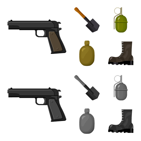 Sapper blade, hand grenade, army flask, soldier boot. Military and army set collection icons in cartoon,monochrome style vector symbol stock illustration web. Ilustração