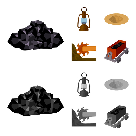 A miner lamp, a funnel, a mining combine, a trolley with ore.Mining industry set collection icons in cartoon,monochrome style vector symbol stock illustration . Illustration