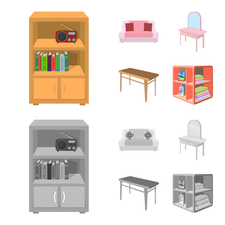 Soft sofa, toilet make-up table, dining table, shelving for laundry and detergent. Furniture and interior set collection icons in cartoon,monochrome style isometric vector symbol stock illustration . Illustration