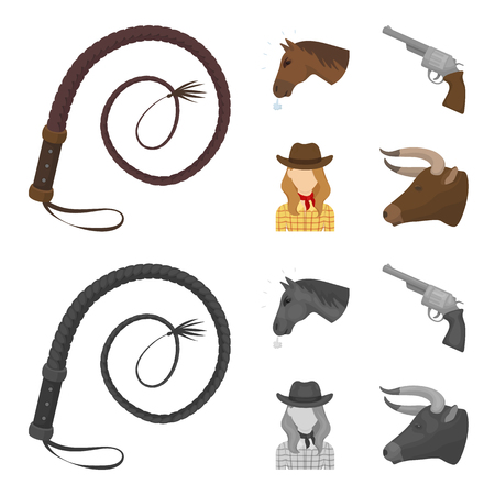 Head of a horse, a bull head, a revolver, a cowboy girl.Rodeo set collection icons in cartoon,monochrome style vector symbol stock illustration .