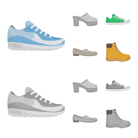 Flip-flops, clogs on a high platform and heel, green sneakers with laces, female gray ballet flats, red shoes on the tractor sole. Shoes set collection icons in cartoon,monochrome style vector symbol stock illustration .