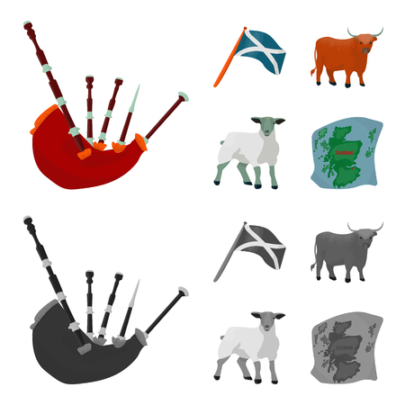 The state flag of Andreev, Scotland, the bull, the sheep, the map of Scotland. Scotland set collection icons in cartoon,monochrome style vector symbol stock illustration . Çizim