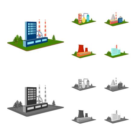 Verwerkingsfabriek, metallurgische fabriek. Fabriek en industrie instellen collectie iconen in cartoon stijl isometrische vector symbool stock illustratie web.