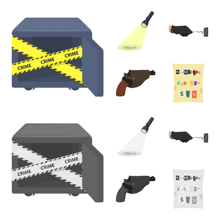 The detective flashlight illuminates the footprint, the criminal hand with the master key, a pistol in the holster, the kidnapper claim. Crime and detective set collection icons in cartoon,monochrome style vector symbol stock illustration .