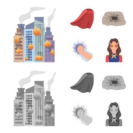 Cloak, red, clothes, and other  icon in flat style. Super, strength, girl icons in set collection
