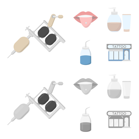 Piercing in tongue, gel, sallon. Tattoo set collection icons in cartoon,monochrome style vector symbol stock illustration .