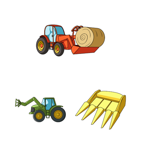 Agricultural machinery cartoon icons in set collection for design. Equipment and device vector symbol stock  illustration.
