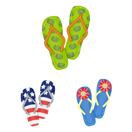 Flip-flops cartoon icons in set collection for design. Beach shoes vector symbol stock  illustration.