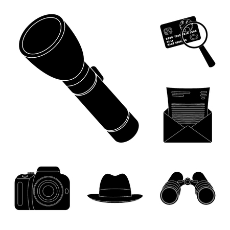 Detective and Attributes black icons in set collection for design.Detective Agency vector symbol stock  illustration.