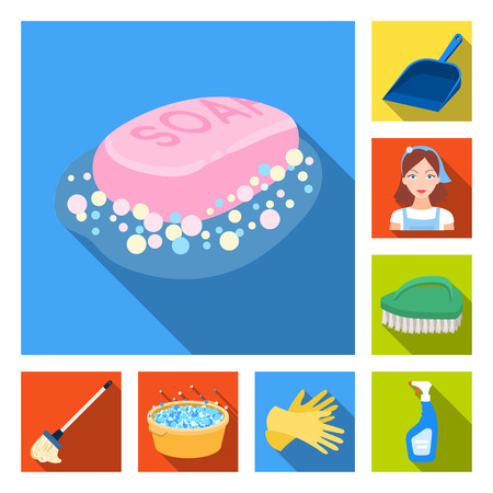 Cleaning and maid flat icons in set collection for design. Equipment for cleaning vector symbol stock web illustration.