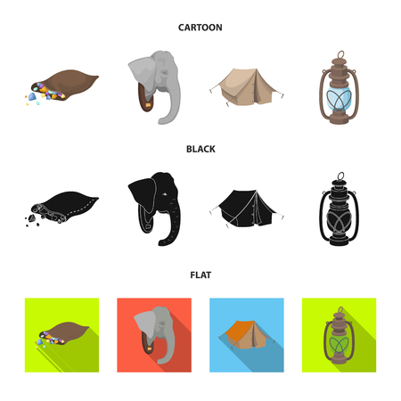 A bag of diamonds, an elephant head, a kerosene lamp, a tent. African safari set collection icons in cartoon,black,flat style vector symbol stock illustration web.
