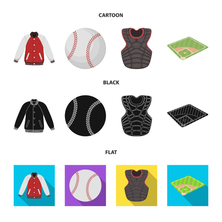 Playground, jacket, ball, protective vest. Baseball set collection icons in cartoon,black,flat style vector symbol stock illustration web.