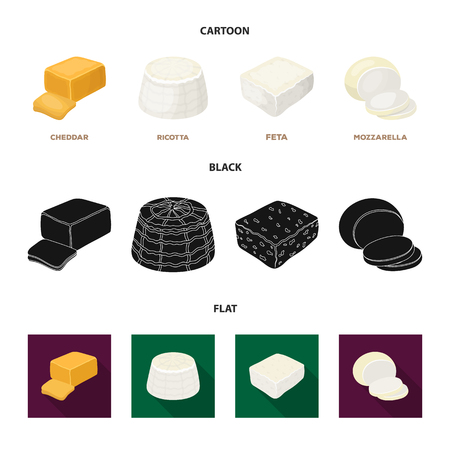 Mozzarella, feta, cheddar, ricotta.Different types of cheese set collection icons in cartoon,black,flat style vector symbol stock illustration web. Иллюстрация