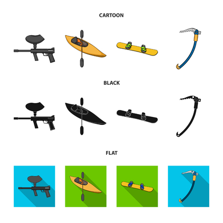 Paintball marker, kayak with a paddle, snowboard and climbing ice ax.Extreme sport set collection icons in cartoon,black,flat style vector symbol stock illustration web.
