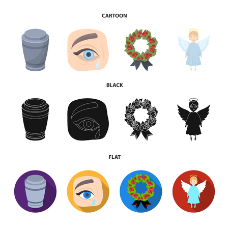The urn with the ashes of the deceased, the tears of sorrow for the deceased at the funeral, the mourning wreath, the angel of death. Funeral ceremony set collection icons in cartoon,black,flat style vector symbol stock illustration web. Illustration
