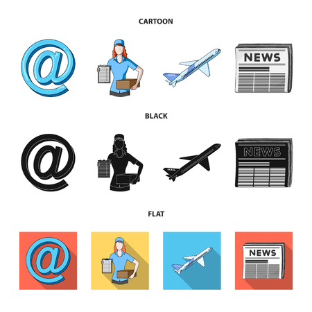 Email symbol, courier with parcel, postal airplane, pack of newspapers.Mail and postman set collection icons in cartoon,black,flat style vector symbol stock illustration web.