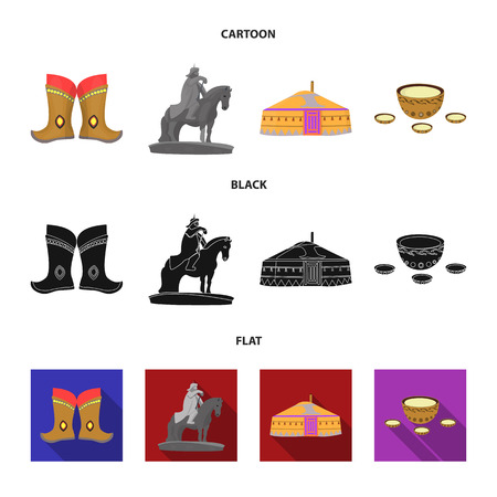 Military boots, a monument to the rider, a national tent, a milk drink. Mongolia set collection icons in cartoon,black,flat style vector symbol stock illustration web.