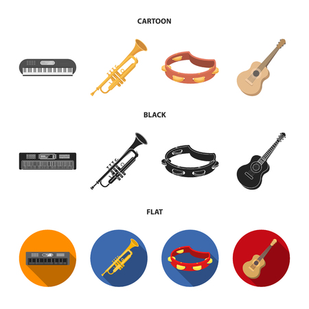 Electro organ, trumpet, tambourine, string guitar. Musical instruments set collection icons in cartoon,black,flat style vector symbol stock illustration web.