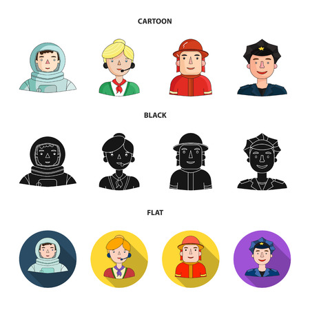 An astronaut in a spacesuit, a co-worker with a microphone, a fireman in a helmet, a policeman with a badge on his cap. People of different professions set collection icons in cartoon,black,flat style vector symbol stock illustration web.