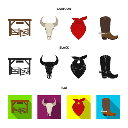 Gates, a bull skull, a scarf around his neck, boots with spurs. Rodeo set collection icons in cartoon,black,flat style vector symbol stock illustration web. Illustration