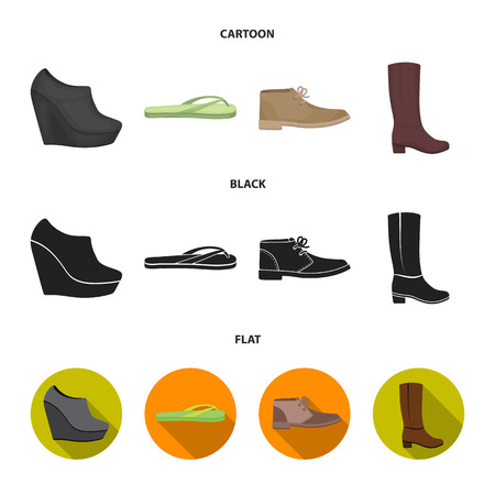 Autumn black shoes on a high platform, flip-flops green for relaxation, sandy men autumn shoes, high brown boots. Shoes set collection icons in cartoon,black,flat style vector symbol stock illustration web. Çizim