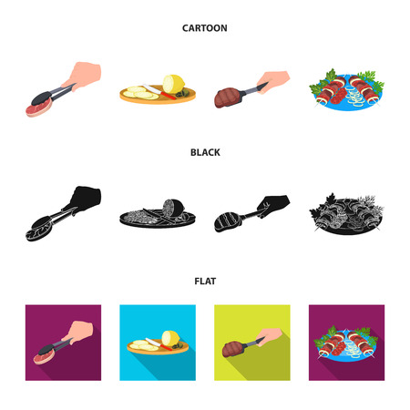 Tongs with steak, fried meat on a scoop, slicing lemon and olives, shish kebab on a plate with vegetables. Food and Cooking set collection icons in cartoon,black,flat style vector symbol stock illustration web.  イラスト・ベクター素材