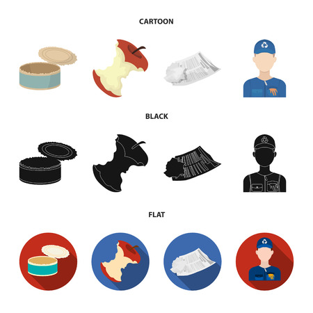 Can used used pot, apple stub, old dirty and wrinkled newspaper, the man who takes out the garbage.Garbage and trash set collection icons in cartoon,black,flat style vector symbol stock illustration web.