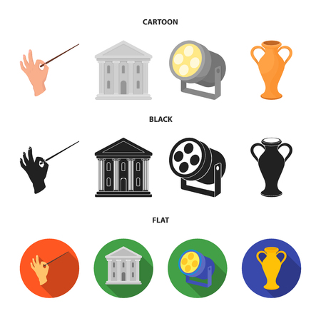 Conductor baton, theater building, searchlight, amphora.Theatre set collection icons in cartoon,black,flat style vector symbol stock illustration web.
