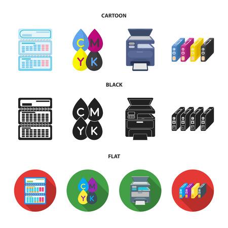 Calendario, gotas de pintura, cartucho, impresora multifunción. La tipografía establece los iconos de la colección en la web de dibujos animados, negro, plano estilo vector símbolo stock de ilustración.