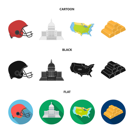 Football player helmet, capitol, territory map, gold and foreign exchange. USA Acountry set collection icons in cartoon,black,flat style vector symbol stock illustration web.