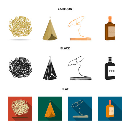 Roll-field, Indian wigwam, lasso, whiskey bottle. Wild West set collection icons in cartoon,black,flat style vector symbol stock illustration web.