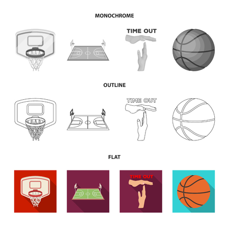 Basketball and attributes flat,outline,monochrome icons in set collection for design.Basketball player and equipment vector symbol stock web illustration.