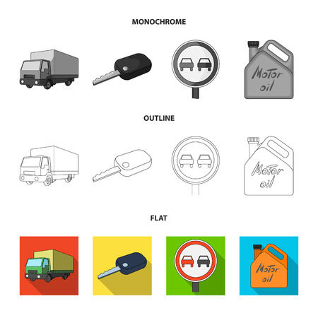 Truck with awning, ignition key, prohibitory sign, engine oil in canister, Vehicle set collection icons in flat,outline,monochrome style vector symbol stock illustration web.