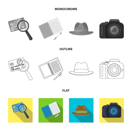 Camera, magnifier, hat, notebook with pen.Detective set collection icons in flat,outline,monochrome style vector symbol stock illustration web.