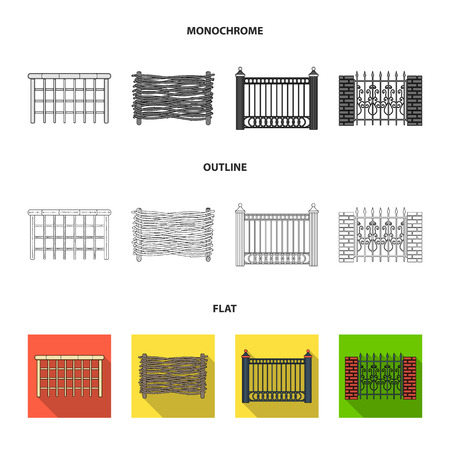 A fence of metal and bricks,wooden palisade. A different fence set collection icons in flat,outline,monochrome style vector symbol stock illustration web. Illusztráció