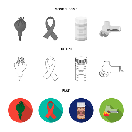 AIDS tape, tablets, opium poppy, a tube for hashish.Drug set collection icons in flat,outline,monochrome style vector symbol stock illustration web.