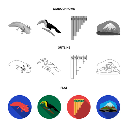 Sampono Mexican musical instrument, a bird with a long beak, Orizaba is the highest mountain in Mexico, axolotl is a rare animal. Mexico country set collection icons in flat,outline,monochrome style vector symbol stock illustration .