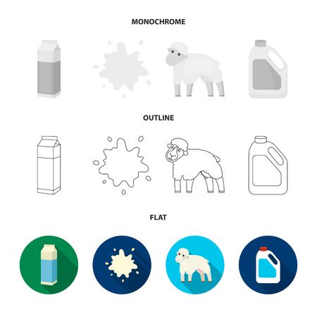 Billet pack, sheep.blue, canister.Moloko set collection icons in flat,outline,monochrome style vector symbol stock illustration .