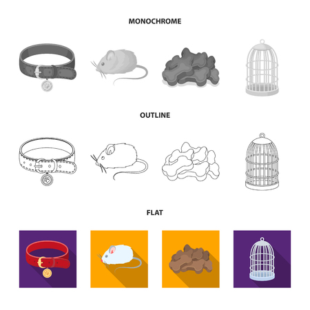 A collar, a forage, a toy, a cage and other products of the zoo store.Pet shop set collection icons in flat,outline,monochrome style vector symbol stock illustration .