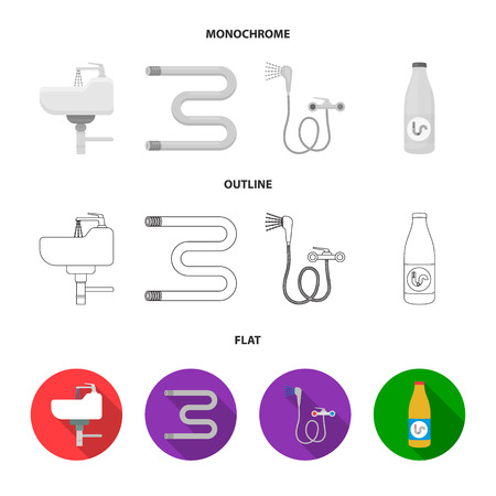 Washbasin, heated towel-dryer, mixer, showers and other equipment.Plumbing set collection icons in flat,outline,monochrome style vector symbol stock illustration . Illustration
