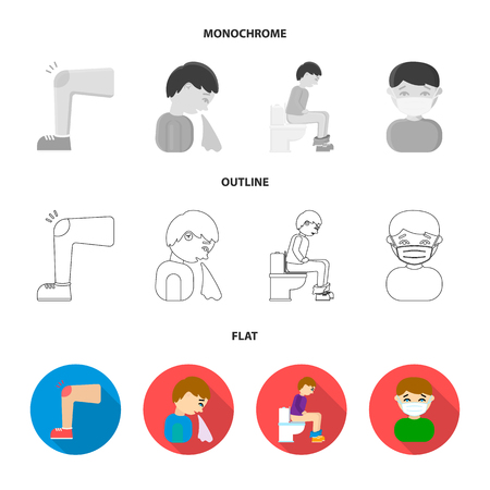 A foot with a bruise in the knee, sneezing sick, a man sitting on the toilet, a man in a medical mask. Sick set collection icons in flat,outline,monochrome style vector symbol stock illustration .